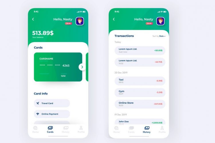 Finance app UI design concept with transaction page, credit card holder information. User banking app dashboard on phone. Phone UI design. Vector